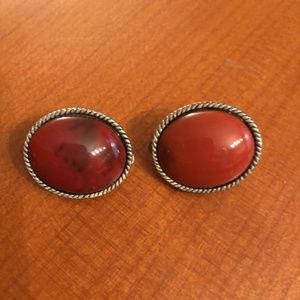 Rust Brown ENAMEL Stone Earrings - clip on VINTAGE